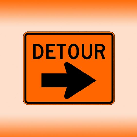 Detour sign, orange and black road sign.