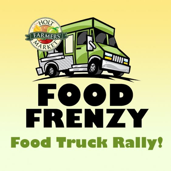 Food Frenzy Logo. Green Food Truck with Farmers' Market Logo.