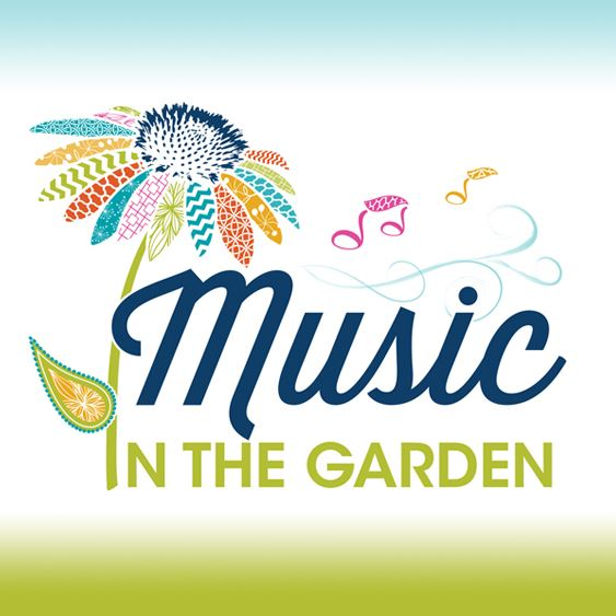 Music in the Garden Logo, flower with text.