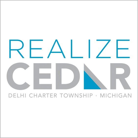 blue and grey logo for Realize Cedar project