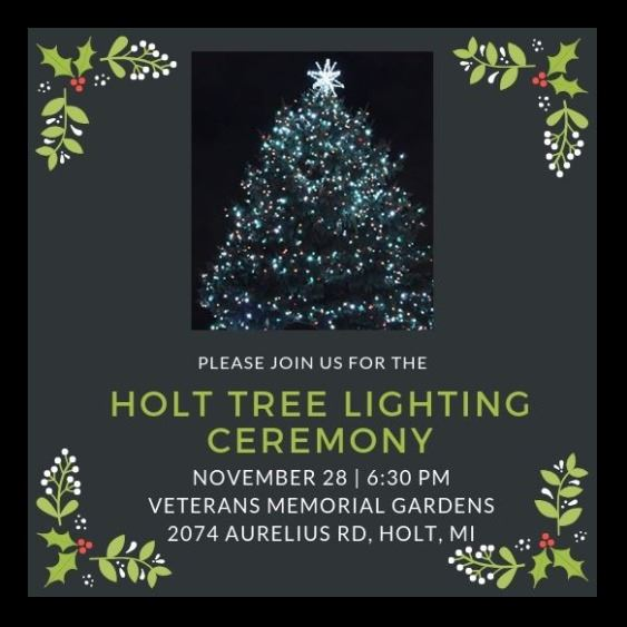 grey invitation to tree lighting ceremony with lit Christmas tree