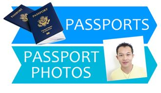 Passports text and image of person and a passport